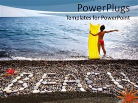 PowerPoint template displaying a lady ready for surfing in the ocean