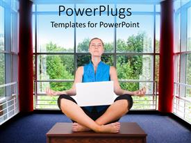 PowerPlugs: PowerPoint template with a lady relaxing with the help of yoga