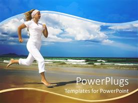 PowerPlugs: PowerPoint template with a lady running on the beach