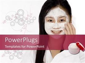 PowerPoint template displaying lady smiling with facial mask on a white background