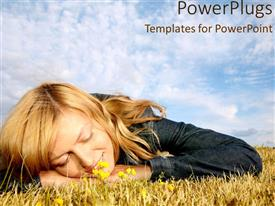 PowerPlugs: PowerPoint template with lady smiling as she lay still on field with blue cloudy sky