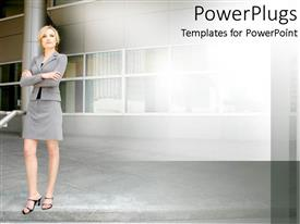PowerPlugs: PowerPoint template with a lady standing in front of a building