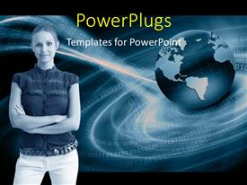 PowerPoint template displaying a lady standing with her hands folded and a globe behind her