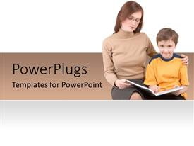 PowerPoint template displaying a lady teaching a young smiling boy on a white background