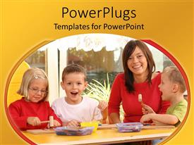 PowerPlugs: PowerPoint template with lady with three kids all smiling happily round a table