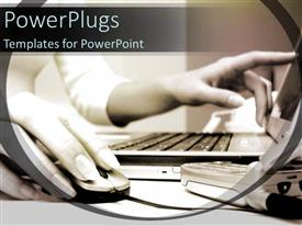 PowerPlugs: PowerPoint template with lady virtual assistant working on laptop