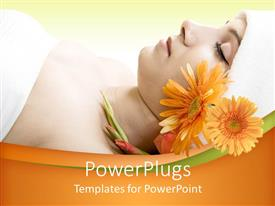 PowerPoint template displaying a lady waiting for the spa services