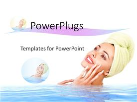 PowerPoint template displaying a lady in the water with white background