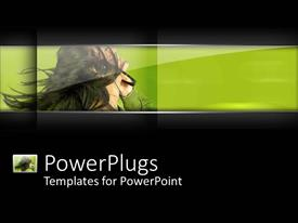 PowerPoint template displaying lady wearing a headset smiling happily on green background