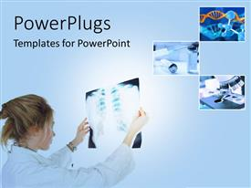 PowerPlugs: PowerPoint template with a lady wearing a lab coat holding up an xray