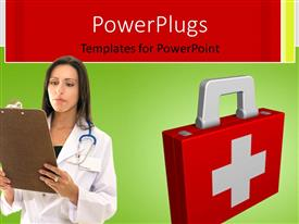 PowerPlugs: PowerPoint template with a lady wearing a lab coat and a stethoscope with a first aid box