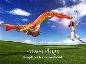 PowerPlugs: PowerPoint template with lady in white leaping for joy holding colorful scarfs