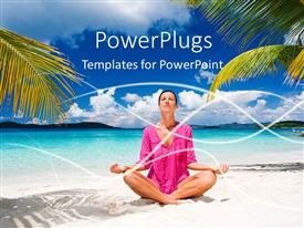 PowerPoint template displaying a lady in the yoga position with clouds in the background