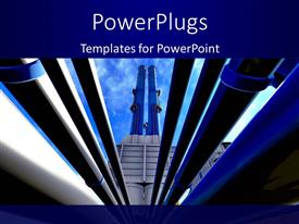 PowerPlugs: PowerPoint template with landscape of crude oil refinery with large equipment rising to bluesky