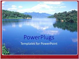 PowerPlugs: PowerPoint template with landscape lake view with trees and mountain in background