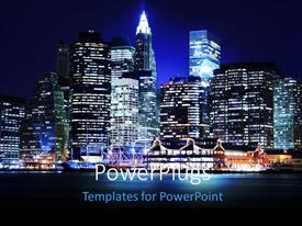 A presentation featuring landscape of lower Manhattan New York skyline at night