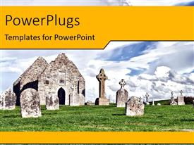 PowerPlugs: PowerPoint template with landscape of Monastery of Clonmacnoise, Ireland over cloudy sky