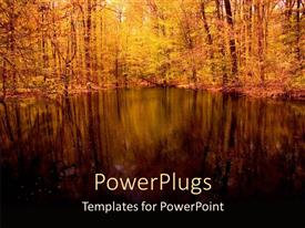 PowerPlugs: PowerPoint template with landscape of peaceful pond with trees, woods, nature