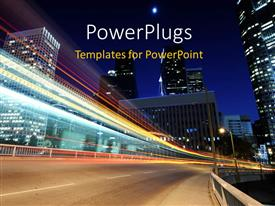 PowerPlugs: PowerPoint template with landscape showing night view of beautiful city with bright lights
