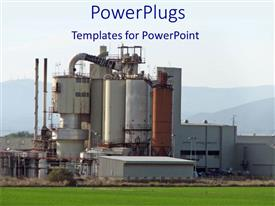 PowerPlugs: PowerPoint template with landscape view of industrial plant with green lawn