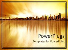 PowerPoint template displaying landscape view of large modern city with sunset overhead