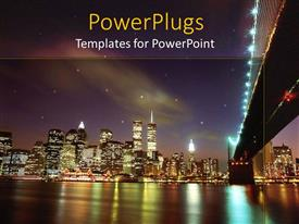 PowerPlugs: PowerPoint template with landscape view of new York city showing lots of lights and the sea