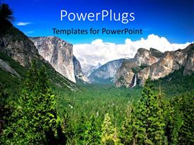 PowerPoint template displaying landscape of Yosemite National Park with green vegetation between rocks