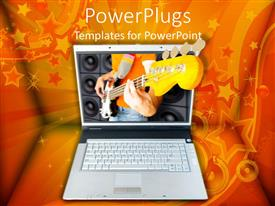 PowerPlugs: PowerPoint template with laptop with 3D image of man playing electric guitar, orange swirl, star and speaker background