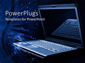 PowerPlugs: PowerPoint template with a laptop along with a number of figures in the background