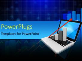 PowerPlugs: PowerPoint template with a laptop with an arrow and bluish background