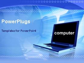 PowerPlugs: PowerPoint template with laptop in blue background with computer displayed on screen