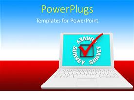PowerPoint template displaying a laptop with bluish background and place for text