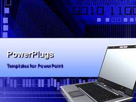 PowerPlugs: PowerPoint template with laptop computer with codes on a deep blue background