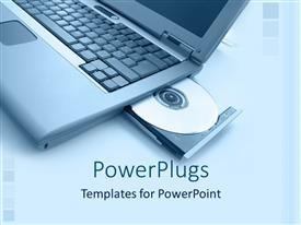 PowerPlugs: PowerPoint template with laptop computer with opened virtual media on bright background