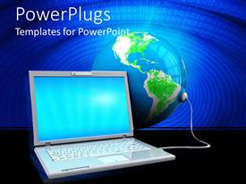 PowerPlugs: PowerPoint template with the laptop is connected to the globe with the help of a cable