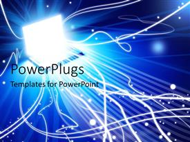 PowerPlugs: PowerPoint template with a laptop connected to a number of lines with place for text