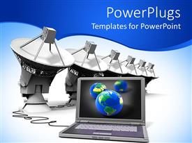 PowerPlugs: PowerPoint template with a laptop connected with a number of telescopes
