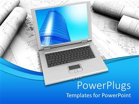 PowerPoint template displaying a laptop with designs int he background