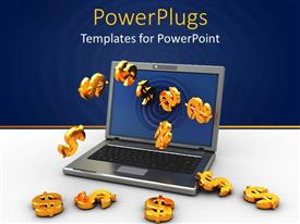 PowerPoint template displaying a laptop with dollar signs and bluish background