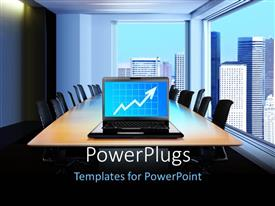 PowerPlugs: PowerPoint template with a laptop with a graph on its screen