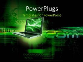 PowerPlugs: PowerPoint template with a laptop with greenish background and place for text