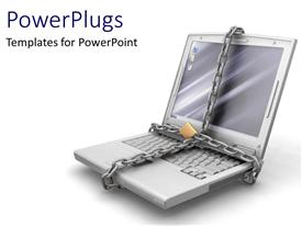 PowerPlugs: PowerPoint template with laptop locked as a metaphor technology personal identity security
