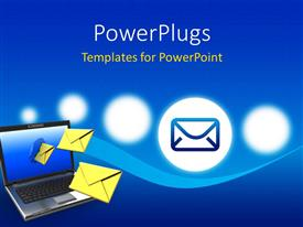 PowerPlugs: PowerPoint template with a laptop with a number of mails and bluish background