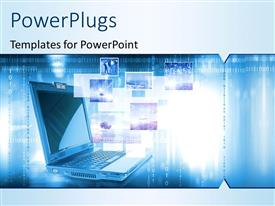 PowerPlugs: PowerPoint template with a laptop with a number of screens in background