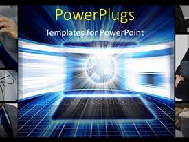 PowerPlugs: PowerPoint template with collage of business depictions with glowing earth globe on laptop