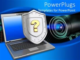 PowerPlugs: PowerPoint template with laptop with shield having a question mark and a lens