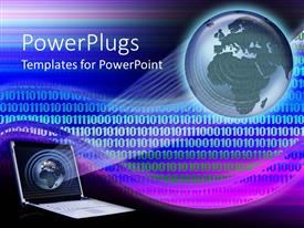 PowerPlugs: PowerPoint template with laptop showing an array of light on an earth globe