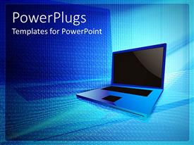 PowerPoint template displaying laptop with stylized binary background, blue