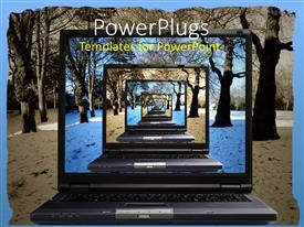 PowerPlugs: PowerPoint template with a laptop with the view of a number of screens