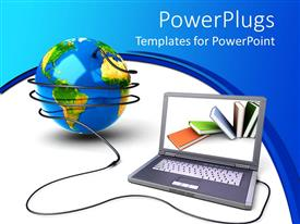 PowerPlugs: PowerPoint template with laptop with its wires surrounding a blue  earth globe